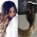 Full Shine Balayage Ombre Color 2 Ombre Color 6 Fading to Color 18 Tape in Hair Extensions 100 Real Human Hair Skin Weft