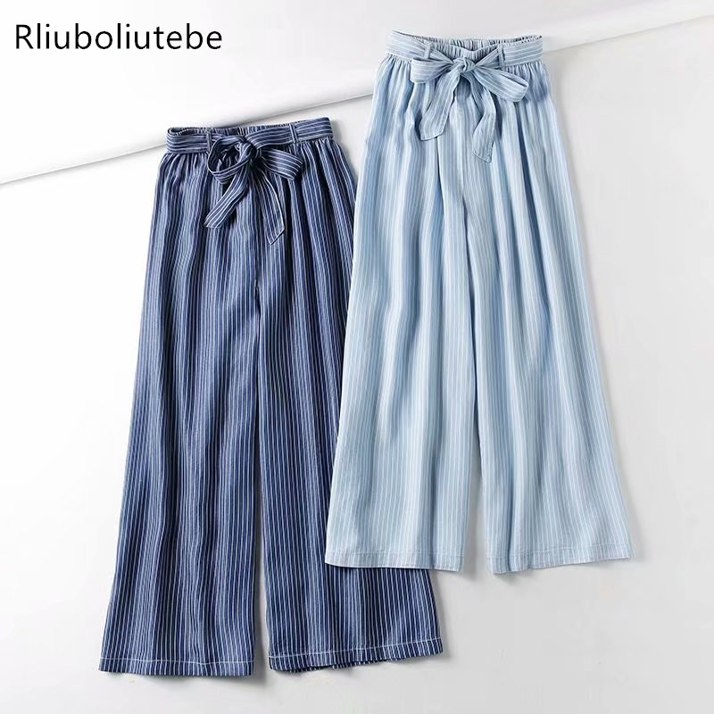 striped tecel denim   wide     leg     pants   with belt bow light blue Jeans loose palazzo   pants   elastic waist casual autumn   pants   summer