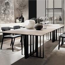 Дизайнерский уникальный мраморный обеденный набор из нержавеющей стали с Прямоугольным Столом и 6 кожаными стульями mesa de jantar muebles comedor