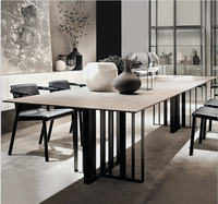 designer unique stainless steel marble dining room set with rectangle table and 6 leather chairs mesa de jantar muebles comedor