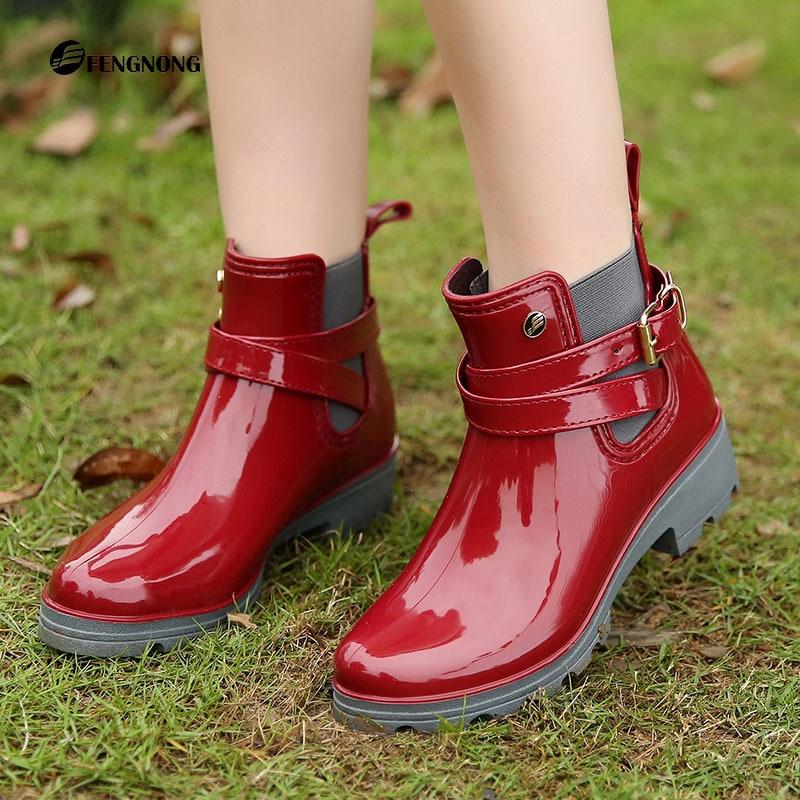 slip bleu on Non Slip Cheville Bout rouge Bottes Caoutchouc Pluie De Chaussures Med Femmes Rainboots Étanche Noir Solide Rond En U8w4qOrU