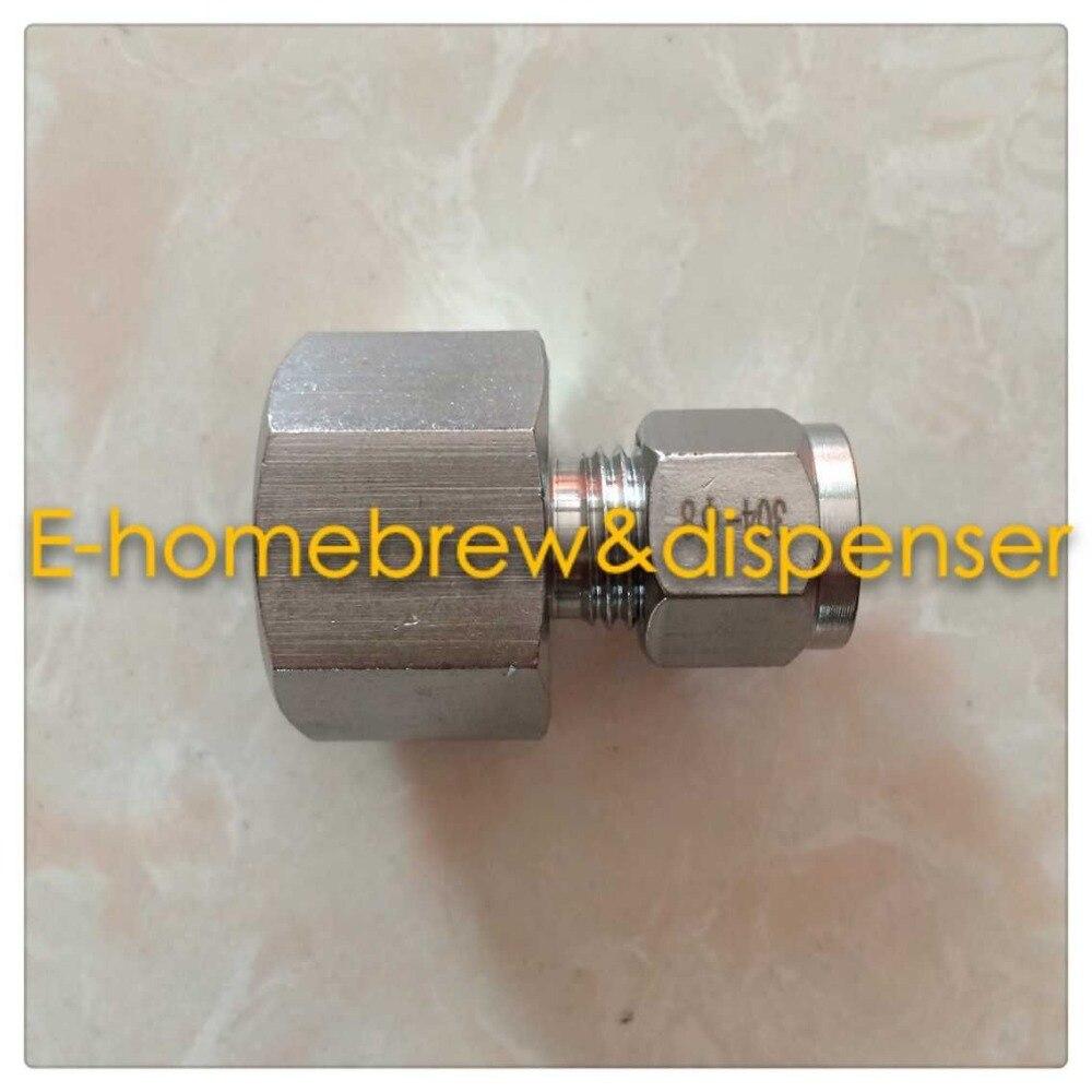 Livre shipping produto comestível 304 aço inoxidável virola conector, fêmea 5/8g, para 9.5mm od tubo de aço inoxidável