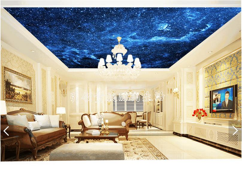 Us 11 1 50 Off 3d Photo Wallpaper 3d Ceiling Wall Murals Wallpaper Sky Blue Night Dream Living Room Ceiling Murals 3d Room Wallpaper In Wallpapers