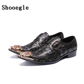 SHOOEGLE Fashion Men Metal Toe Business Shoes Printing Slip-on Office Oxford Shoes Party Dress Shoes SizeEU38-EU47 Free shipping