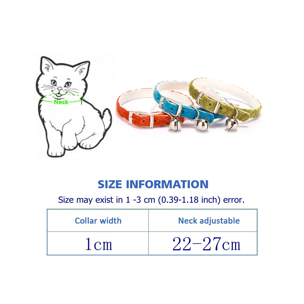 Dog Collar For Cats Solid Braid Kitten Bell Collars Shiny Adjustable Collars Cat Lead Pet Collar Cat Supplies Pet Products PQ005 (14-1)