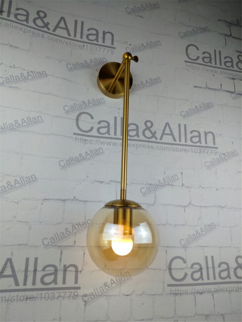 Antique brass finished iron amber glass ball shade goose neck wall lamp fixture with bulb D150mm ball light room shop decoration antique brass wall lamp 100