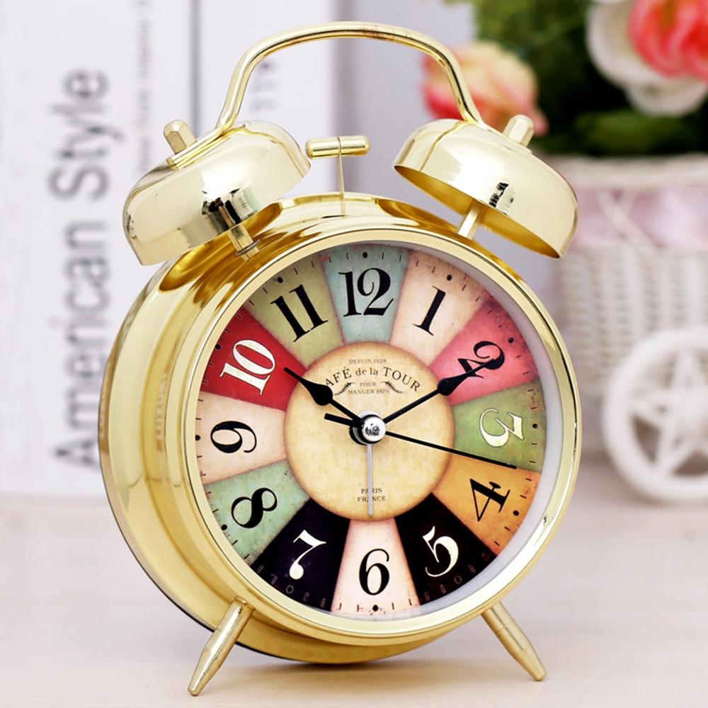 Silent Metal Alarm Clock Bedside Luminous Alarm Clock Light Luxury Golden Bell Desk Clock
