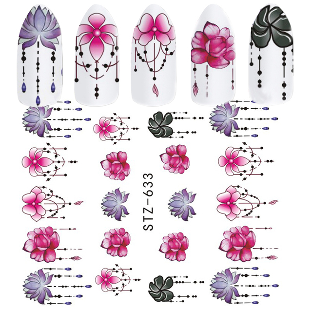 1pcs Slider Nail Sticker Gradient Lotus Decals Purple Flower Vine Designs For Nail Art Watermark Tattoo Decorations TRSTZ633-608 2