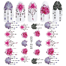 1pcs Slider Nail Sticker Gradient Lotus Decals Purple Flower Vine Designs For Nail Art Watermark Tattoo Decorations TRSTZ633-608