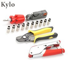 Wire Stripper Kit Coax Cable Crimper Coaxial Compression Tool Wire Stripping Pliers Kit F RG6 RG59 Connectors цена в Москве и Питере