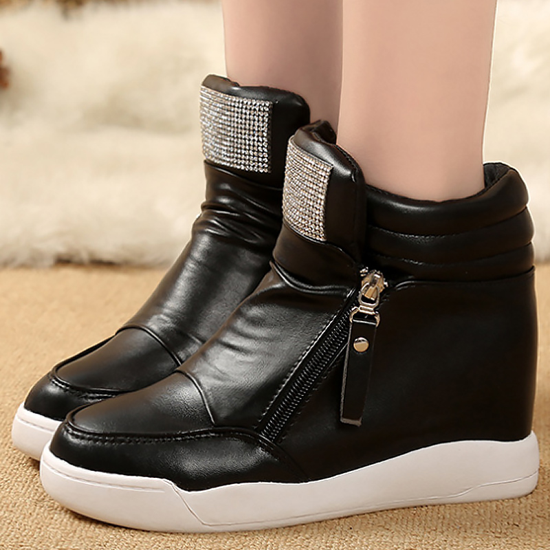 ced15d6739e62 US $21.99 50% OFF|Shoes woman women platform shoes high top shoes size 4.5  8.5 increase women's sneakers are white casual woman sneakers-in Women's ...