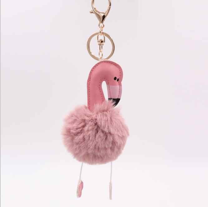 Flamingo Charme Chaveiro De Couro Chaveiro bola De Pêlo de Pelúcia Doce Jóia Para As Mulheres Meninas