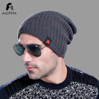 Fashion Red Star Mark Men Winter Knitted Skullie Beanie Hats Cap Casual Solid Warm Elastic Beanie