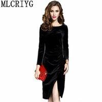2018 Elegant Office Dresses For Women Velvet Dress Long Sleeve Vintage Black Bodycon Dress Female Spring
