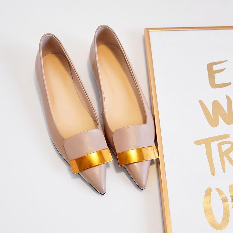 Doux Véritable Chaussures L01 Concise Printemps Pointu 2019 Cuir Peu Conduite Bout rose En Femmes Sur Krazing Noir Confortable Appartements Marque Slip Pot Profonde wf4EZ