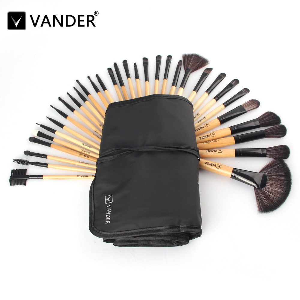 Vander Professional 32Pcs Makeup Brush Set Foundation Cosmetic Powder Multifunction Toiletry Brushes Make Up Brushing Kits Bag free shipping durable 32pcs soft makeup brushes professional cosmetic make up brush set