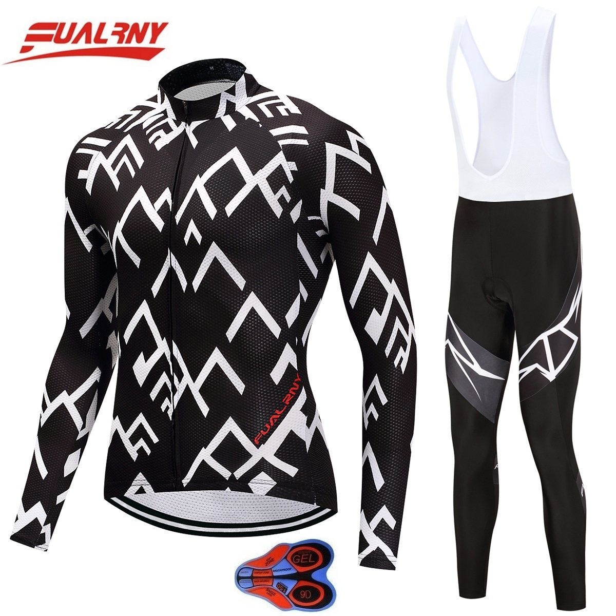 Long sleeve Ropa Ciclismo Cycling Jersey sets Mountian Bicycle Clothing/MTB Bike Clothes For Man White stripe 2018 Team FUALRNY