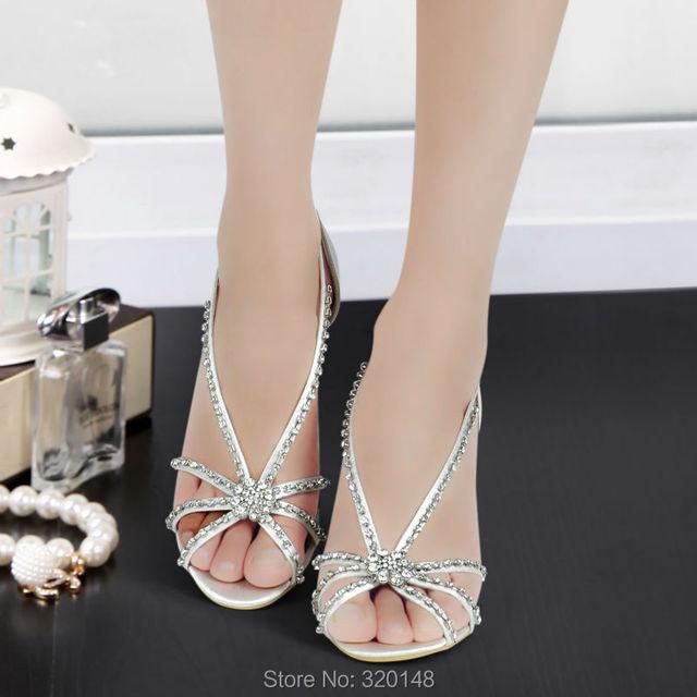 Woman Shoes MC-023 Size 8 Silver Open Toe T-strap Rhinestones Wedges heels  Woman sandals Summer Bride Wedding Bridal Shoes 9299dec8a8ec