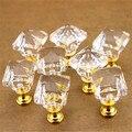 5 Pçs/lote Forma Quadrada de Cristal Puxadores de Gaveta Pull Handle DIY Incluem Parafuso