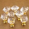 5 Pcs/lot  Square Shape Crystal Cabinet Knobs Drawer Pull Handle DIY Include Screw