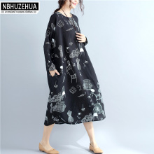 NBHUZEHUA 7G298 4XL 5XL 6XL Plus Size Women Clothing O-Neck Printed Black Long Dress Autumn Spring 2018 New
