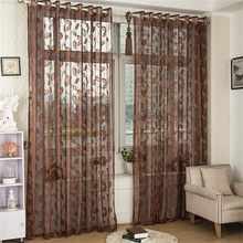 Curtain Voile Curtain Golden Weave Leaves Curtain Modern Solid Leaves Sheer Curtain Tulle Window Drop shipping Aug8(China)