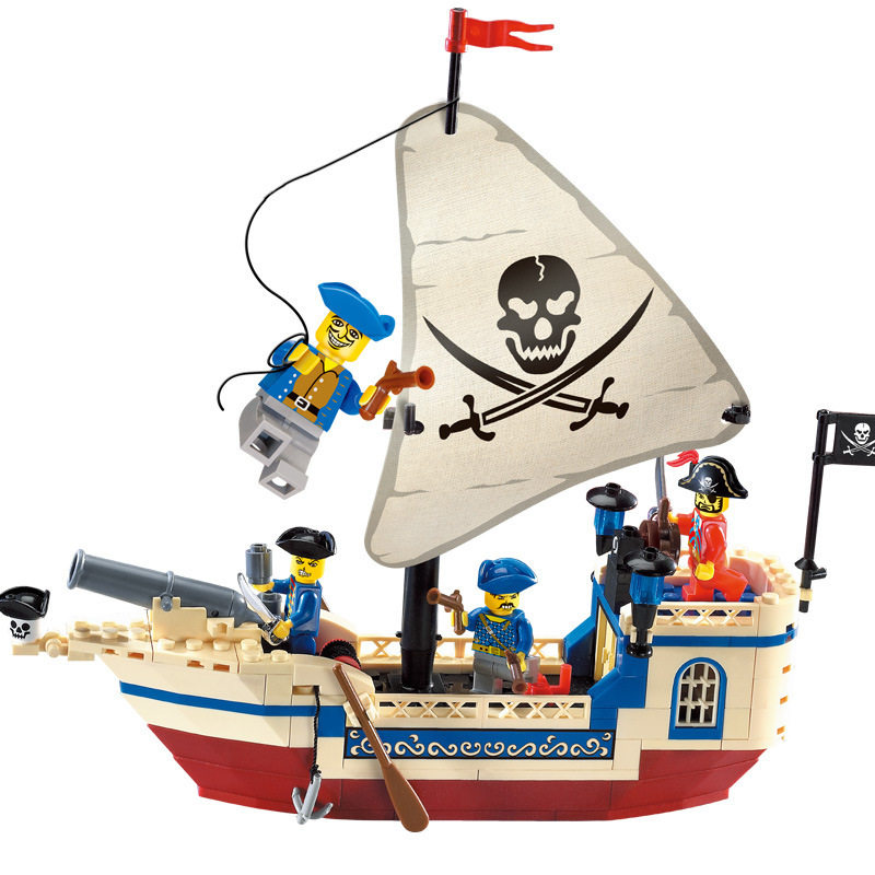 [Funny] 188PCS The Pirates Of The Caribbean Brick Bounty Pirate Ship + 4 figures Building Blocks Toy gift compatible with legoed