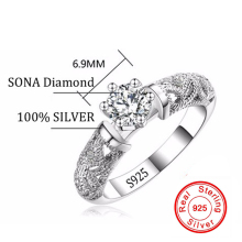 Fine Jewelry Unique Design Rings For Women Real Silver Wedding Rings Set 1 Carat Sona CZ Diamant Silver Engagement Ring AR150