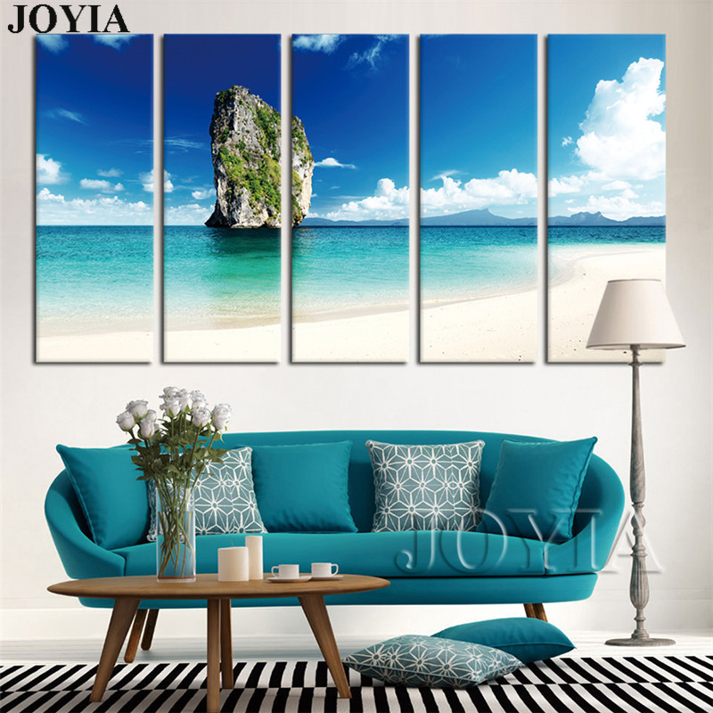 Large Canvas Wall Painting Tropical Island Beach Art Canvas Print Ocean View Pictures 5 Piece/Set with NO Frames