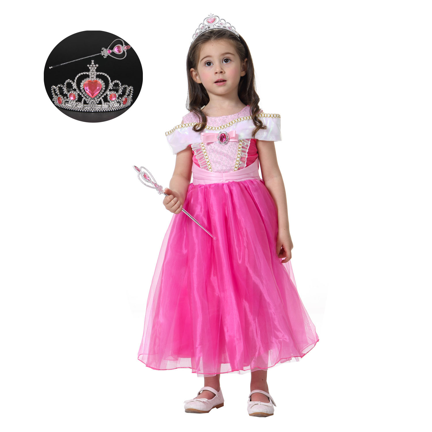 New Casual Toddler Kids Baby Girl Halloween Birthday Clothes Off Tea Length Princess Costumes Dress Girl Pink Yellow