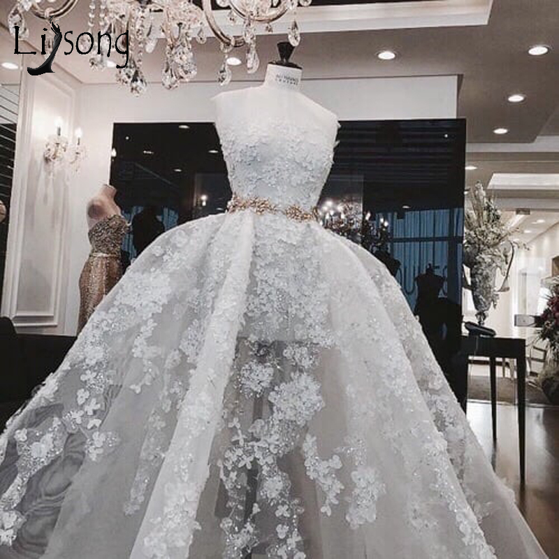 Sexy Beach Illusion Wedding Dresses Lace 3D Flower Bridal