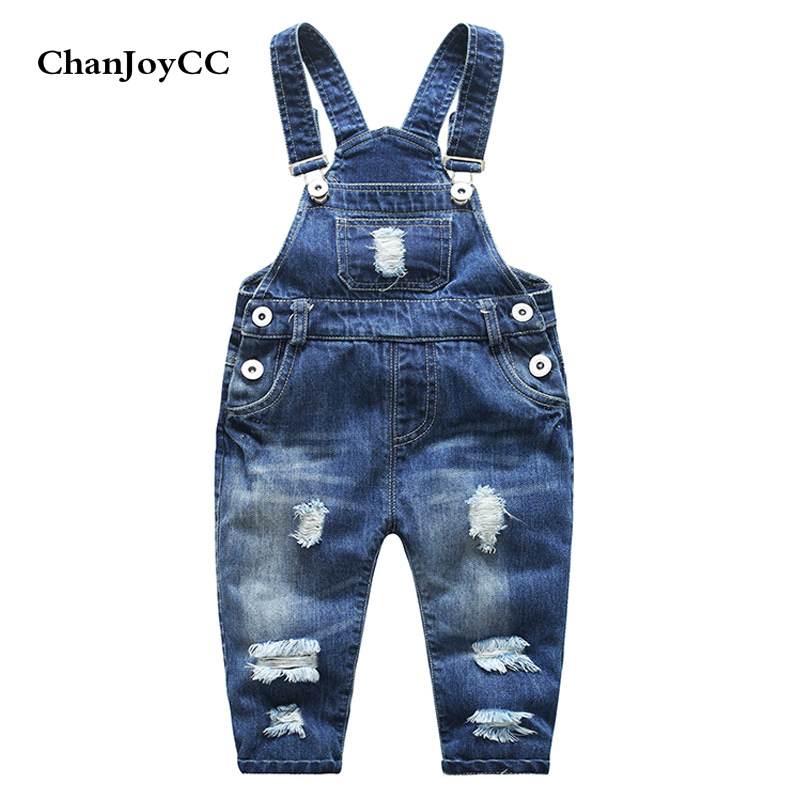 Baby Broken Hole Pants Boys Girls Strap Clothing Spring Autumn New Fashion Kids High Quality Cave Jeans Children Clothing
