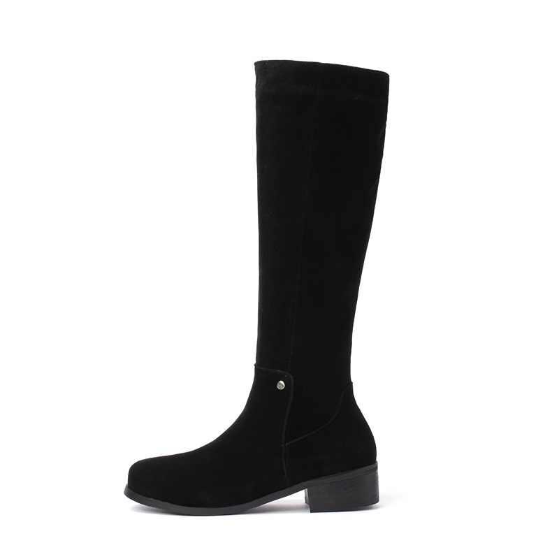 EGONERY winter neue concise lässige med hoof heels flock frauen schuhe runde kappe zip schwarz und apricot draußen warme knie hohe stiefel