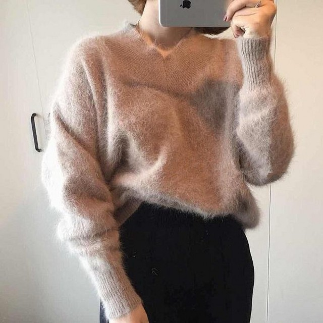 2019 New Fashion Fluffy Women Cashmere Sweater Women 100 Pure Mink Cashmere Sweater Women Sweaters and Pullovers Free Shipping