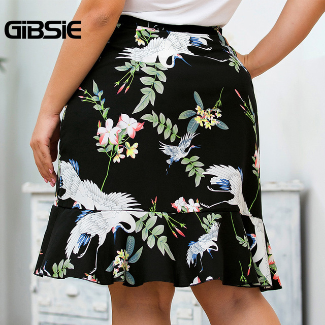 GIBSIE Plus Size Ladies Black Ruffle Trim Print A Line Skirts Womens High Waist Midi Skirt 2019 New Women Summer Elegant Skirt 2