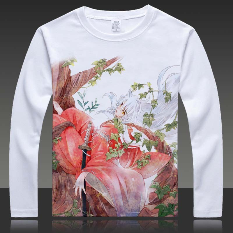 Cartoon Inuyasha Print T-shirts Sesshoumaru Long Sleeve Full T Shirt HigurashiKagome Tops Autumn Tees Clothes (5)