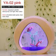 Sunsun Ecology New Style Mini Nano Table Top Ecology Fish Tank Aquarium With Built-in Filter And LED Light 6L 110-220V 50Hz(China)