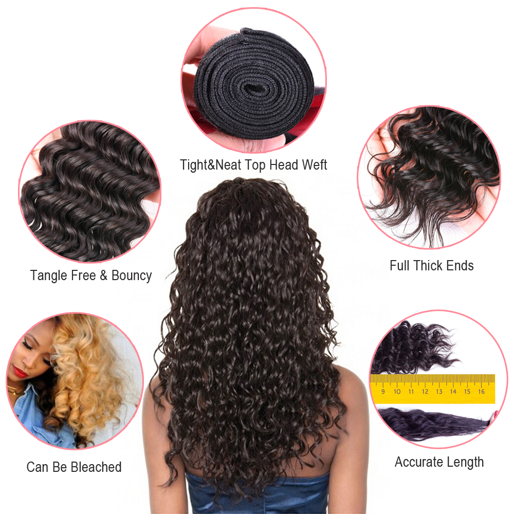 Sapphire Deep Wave Human Hair 3 Bundles With Closure Deep Curly - Hair Salon Supply - Photo 6