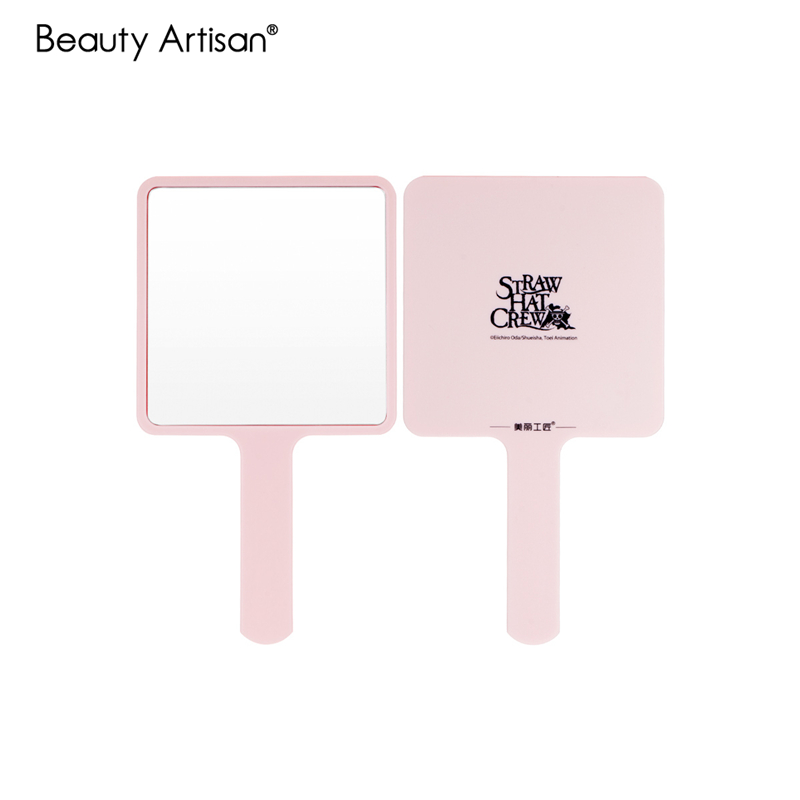 Girls Makeup Big Square Plastic Hand Mirror Handle Large Makeup Mirror Handheld High Definition Cosmetic Beauty Make Up Mirror