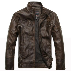 New Winter Motorcycle Leather Warm Jacket Men Autumn Fashion Bomber Jacket Outwear Faux Leather Fleece Male Casual Business Coat