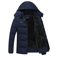 Men's Winter Jackets Thicken Warm Coats Thermal Fleece Down Parkas Hooded Stand Collar Windproof Man Jackets Padded Coats L-3XL