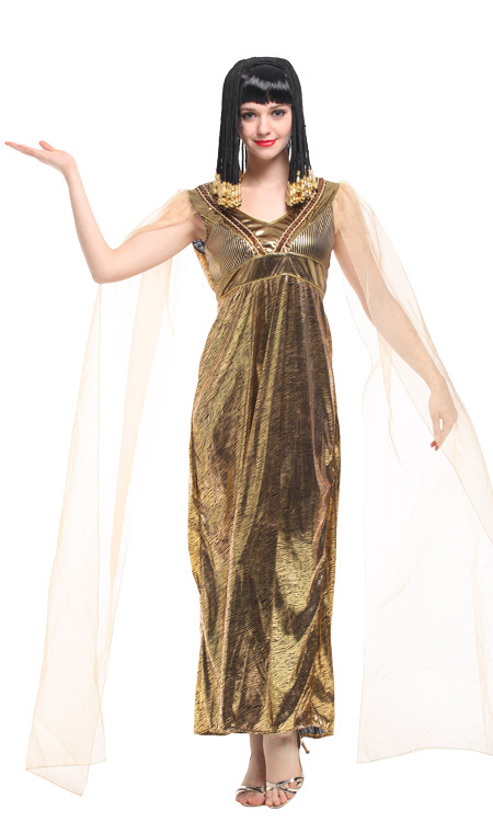 Self-Conscious Roman Empress Goddess Fancy Dress Cleopatra Dress Women Sexy Long Dress Role Playing Performance Show Costume Carnival Clothing