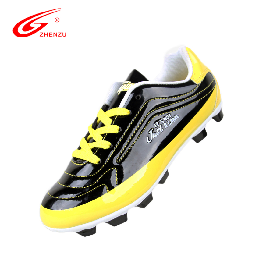ZHENZU Mirror PU Soccer Cleats Boy Turf Football Soccer Shoes For Kids Children Football Boots Cleats Soccer Boots, Size 30-35 dr eagle original superfly football boots man football shoes with ankle soccer boots footbal shoes sock size 38 45 sneakers