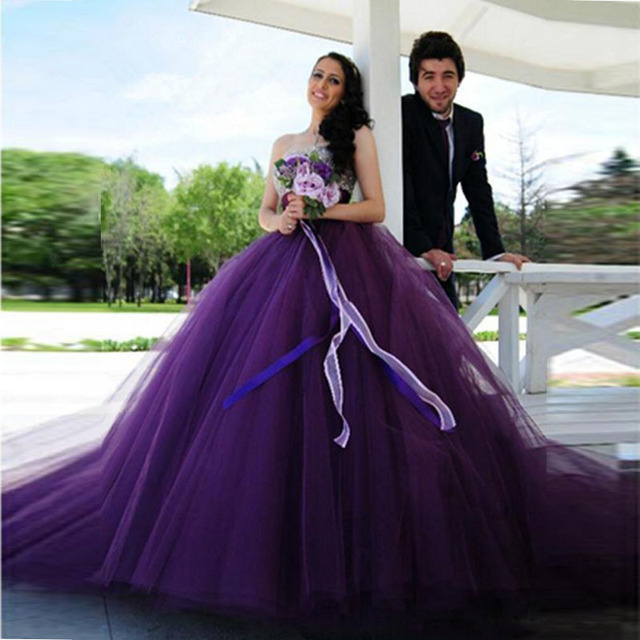 Custom Made Purple Wedding Dresses Sweetheart Ball Gown Tulle with Silver Beading Lace Up Back Bridal Gowns robe de soiree