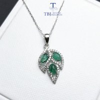 TBJ,Natural zambia emerald Gemstone Pendant in 925 sterling silver Tree leaf pendant for women girl as anniversary birthday gift