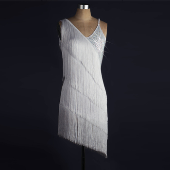 White Latin Dance Dress Women High Quality Custom Mada Latin Dancing Costume Adult Tassel Samba Latin Competition Dance Dresses