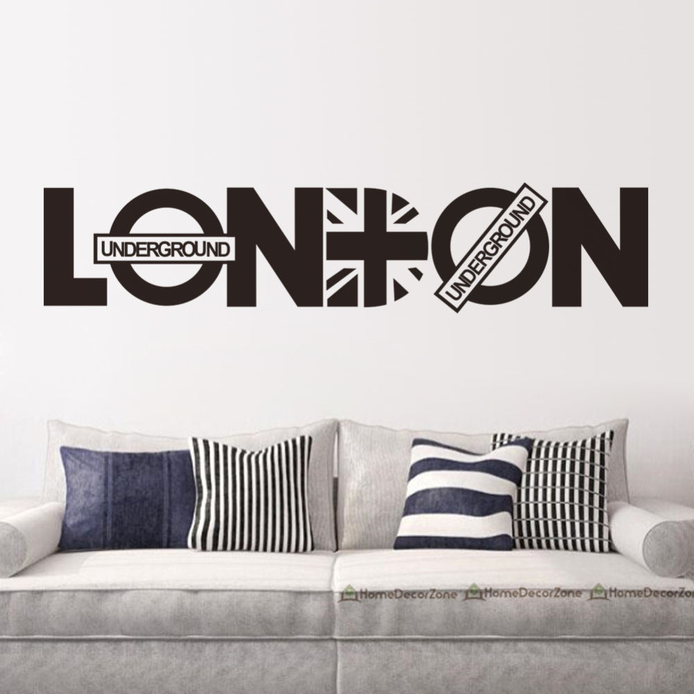 Aliexpress Buy Modern London Words Quotes Wall Sticker Home Decor Vinyl Decals Living Room Mural Fashion Wallpaper ES 103 From Reliable Stickers