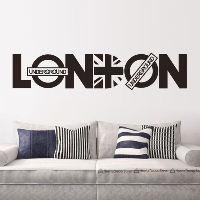 Modern london words quotes wall sticker home decor vinyl decals living room wall mural fashion wallpaper