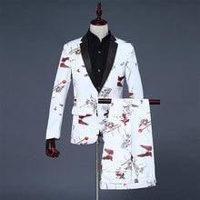 61560d8528 2018 marea hombres blanco moda estilo chino doble Fish Print Mens boda  trajes de novio traje chaqueta Pantalones Hombre desgaste.