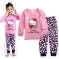 Roupa dos miúdos meninas define Novo 2016 roupas de inverno para crianças define olá kitty cat moda bebê pijama conjunto de roupas meninas KS225